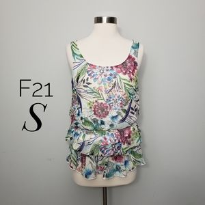 FOREVER 21 tropical print tiered tank top